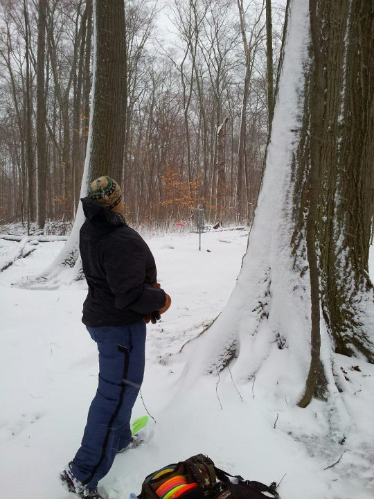 Snow at Punderson State Park Disc Golf Course